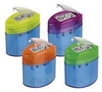 M+R potloodslijper Neo Light, 2-gaats, met reservoir, doos met 10 stuks in geassorteerde kleuren