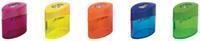 M+R potloodslijper Elliptic Swing, 2 gaats, met reservoir, doos van 10 stuks, geassorteerde kleuren