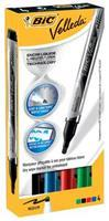 BIC Velleda® Liquid Ink Whiteboardmarker. medium ronde punt van 4.2 mm. lijndikte 2.2 mm. assorti (zwart. blauw. rood. groen) (pak 4 stuks)