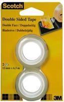 3M Scotch dubbelzijdige plakband ft 12 mm x 6,3 m, 2 stuks op blister