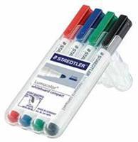 Staedtler whiteboardmarker Lumocolor Compact opstelbare box met 4 stuks in geassorteerde kleuren