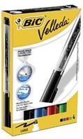 BIC Velleda® Liquid Ink whiteboardmarker. grote ronde punt van 5 mm. lijndikte 2.3 mm. assorti: zwart. blauw. rood. groen (pak 4 stuks)
