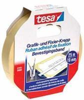 TESA Afplaktape 19 mm x 25 m. asgat 76 mm (rol 25 meter)