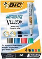BIC Whiteboard marker Velleda 1781 3 - 6 mm. assorti (pak 4 stuks)