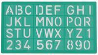 Lettersjabloon  20mm hoofdletters/letters/cijfers