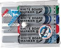Pentel Viltstift  MWL5M Maxiflo whiteboard assorti 3mm 4stuks