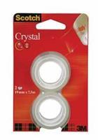 Scotch Plakband Crystal ft 19 mm x 7,5 m, blister met 2 rolletjes
