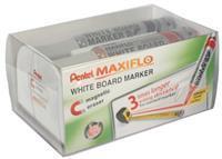 Pentel whiteboardmarker Maxiflo set van 4 stuks: blauw, rood, groen en zwart + magnetische bordwisser