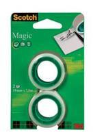 Scotch plakband Magic Tape, ft 19 mm x 7,5 m, blister met 2 rolletjes