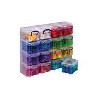 Reallyusefulbox Really Useful Box transparante muurkubus met 16 gekleurde opbergdozen van 0,14 liter