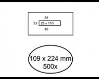 Quantore Envelop  109x224mm venster 2,5x11mm midden 500stuks