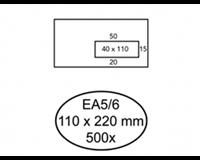 hermes Envelop  EA5/6 110x220mm venster 4x11rechts zelfkl 500