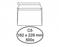 Quantore Envelop  bank C5 162x229mm zelfklevend wit 500stuks
