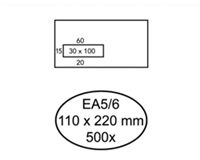 Quantore Envelop  110x220mm venster 3x10cm links zelfkl 500st