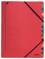 Leitz Sorteermap  3912 12-delig karton rood