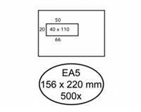 Quantore Envelop  156x220mm venster 4x11cm links zelfkl 500st