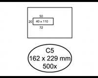 hermes Envelop  C5 162x229mm venster 4x11 links zelfkl 500st