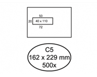 Quantore Envelop  162x229mm venster 4x11cm links zelfkl 500st