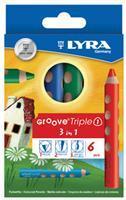 Kleurpotlood Lyra groove triple 3 in 1, 6 potloden