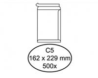 Quantore Envelop  akte C5 162x229mm zelfklevend wit 500stuks