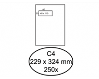 Quantore Envelop  229x324mm venster 4x11cm links 250stuks