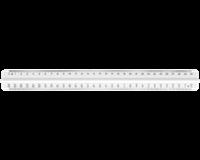 M+R Liniaal 300mm met handgreep melkwit 3 schalen