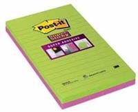 Post-it Super Sticky notes, ft 125 x 200 mm, geassorteerde kleuren, 45 vel, pak van 2 blokken