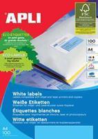 Apli Witte etiketten ft 199,6 x 144,5 mm (b x h), 200 stuks, 2 per blad (2423)