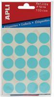 Apli ronde etiketten in etui diameter 19 mm, blauw, 100 stuks, 20 per blad (2064)