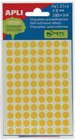 Apli ronde etiketten in etui diameter 8 mm, geel, 288 stuks, 96 per blad (2044)