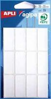 Agipa witte etiketten in etui ft 15 x 35 mm (b x h), 84 stuks, 12 per blad