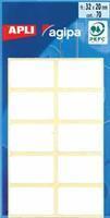 Agipa witte etiketten in etui ft 20 x 32 mm (b x h), 70 stuks, 10 per blad