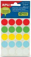 Apli ronde etiketten in etui diameter 19 mm, geassorteerde kleuren, 100 stuks, 20 per blad (7109)