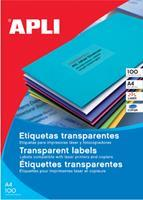 Apli Transparante etiketten ft 48,5 x 25,4 mm (b x h), 880 stuks, 44 per blad, doos van 20 blad