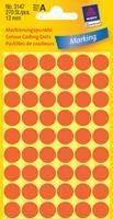 Avery Etiket  3147 rond 12mm lichtrood 270stuks