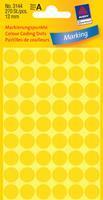 Avery Etiket  3144 rond 12mm geel 270stuks