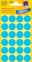 Avery Etiket  3005 rond 18mm blauw 96stuks
