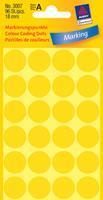 Avery Etiket  3007 rond 18mm geel 96stuks
