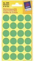 Avery Etiket  3006 rond 18mm groen 96stuks