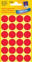 Avery Etiket  3004 rond 18mm rood 96stuks