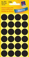 Avery Etiket  3003 rond 18mm zwart 96stuks