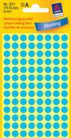 Avery Etiket  3011 rond 8mm blauw 416stuks