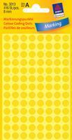 Avery Etiket  3013 rond 8mm geel 416stuks