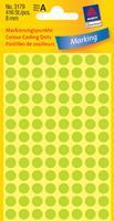 Avery Etiket  3179 rond 8mm lichtgroen 416stuks