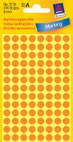 Avery Etiket  3178 rond 8mm oranje 416stuks