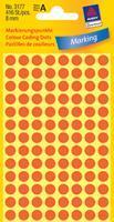 Avery Etiket  3177 rond 8mm lichtrood 416stuks