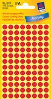 Avery Etiket  3010 rond 8mm rood 416stuks