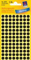 Avery Etiket  3009 rond 8mm zwart 416stuks