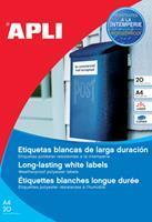 Apli weerbestendige etiketten ft 210 x 297 mm (b x h), 20 stuks, 1 per blad, doos van 20 blad