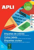 Apli Gekleurde etiketten ft 105 x 37 mm (b x h), groen, 1.600 stuks, 16 per blad, doos van 100 blad